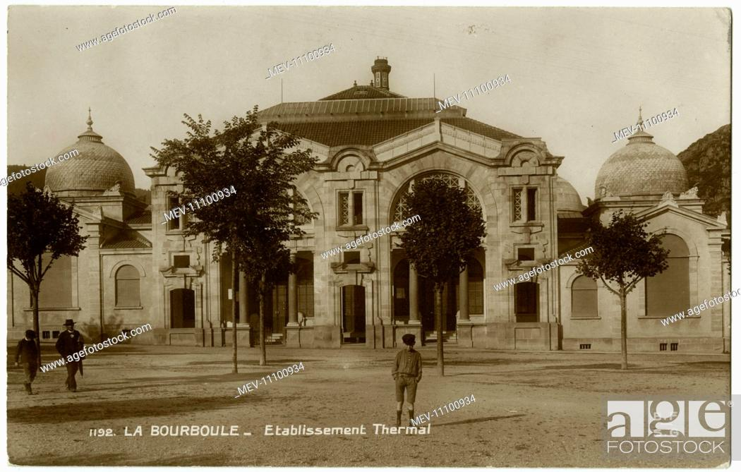 Stock Photo: The Thermal Baths at La Bourboule, a commune in the Puy-de-Dome department in Auvergne in central France.