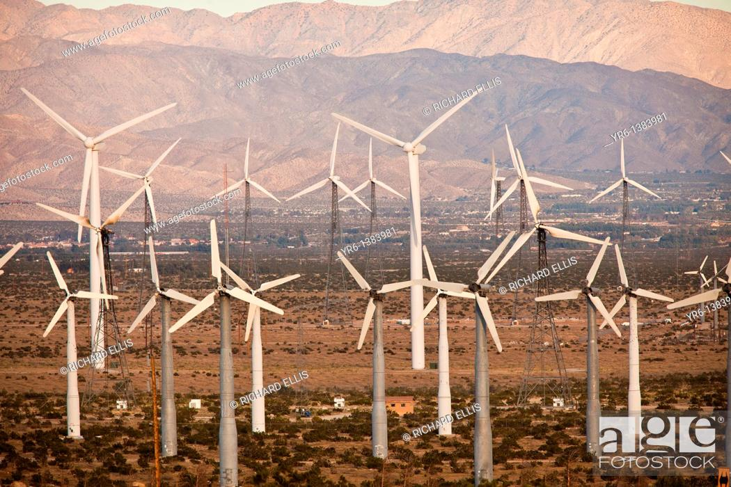 Stock Photo: Wind turbines at the San Gorgonio Pass Wind Farm outside Palm Springs, CA.