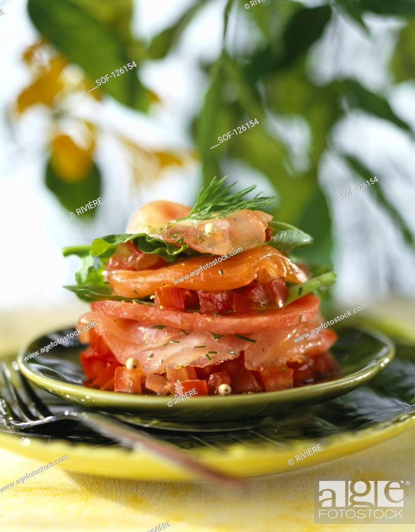 Stock Photo: Raw fish Mille-feuille.