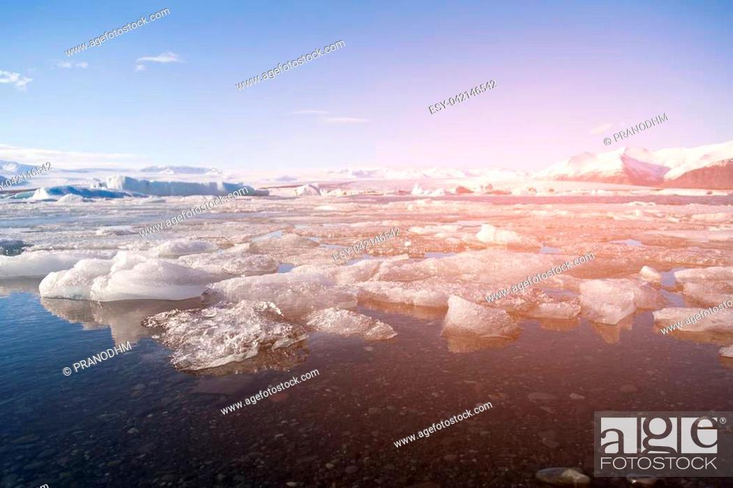 Stock Photo: Ice cracked in Jokulsarlon lagoon, winter season natural landscape.