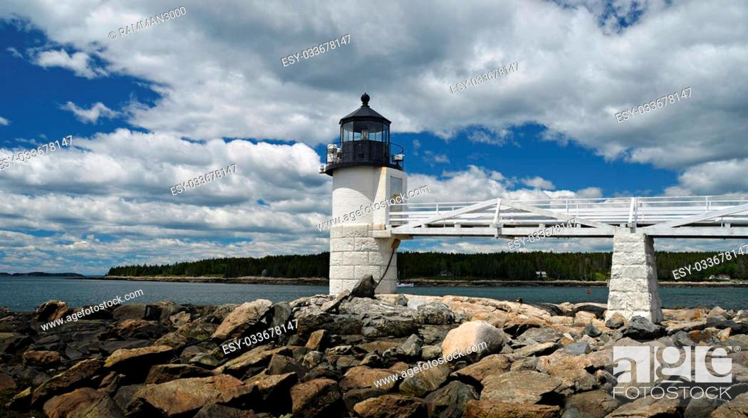 Stock Photo: The Marshall Point Lighthouse located in Port Clyde, Maine.