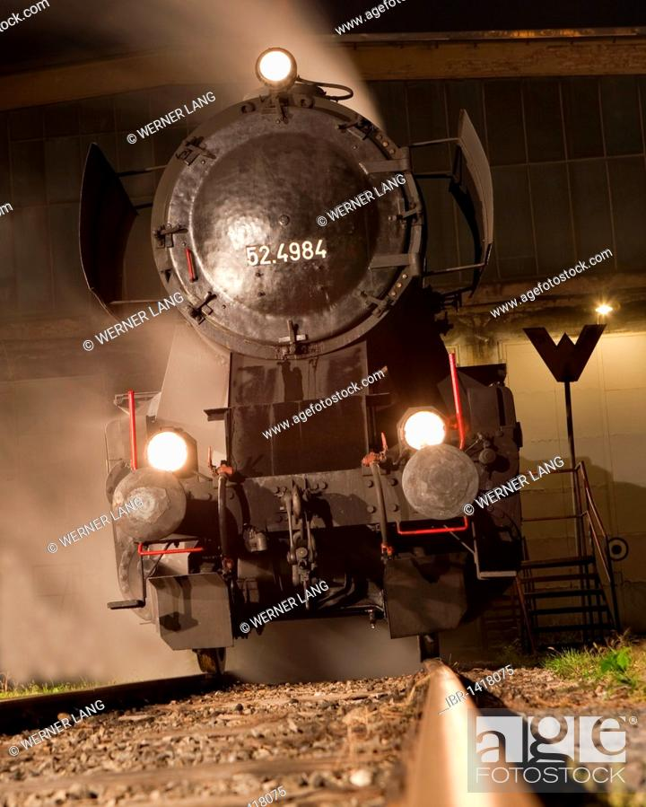 Stock Photo: Steam locomotive 52.100, built in 1943 by Krauss Maffei in Munich for the Deutsche Reichsbahn or German Reich Railways, maximum speed 80 km/h.