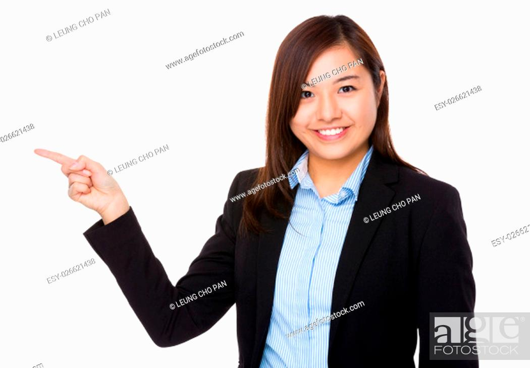 Stock Photo: Businesswoman with finger up.