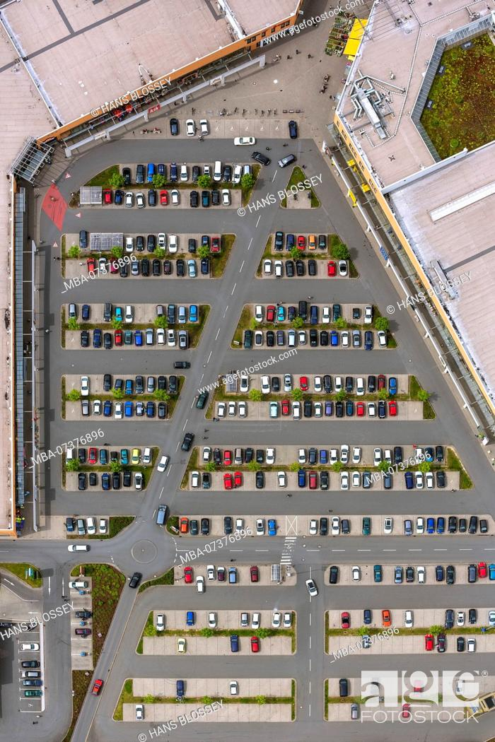 Stock Photo: Parking lot, Sterkrade center, Sterkrade, aerial view of Oberhausen-Nord.