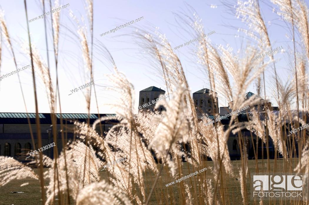 Stock Photo: R h Harris water treatment plant behind tall grass, Toronto Canada.