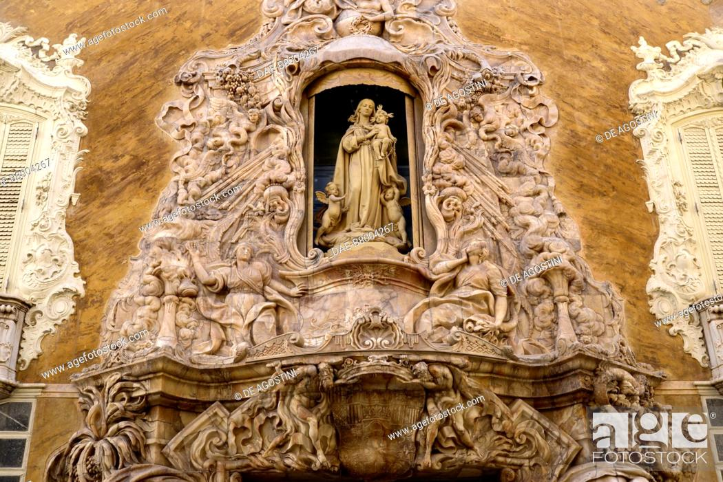 Museo Nacional De Ceramica.Virgin With Child Entrance Portal To The Ceramics Museum Museo