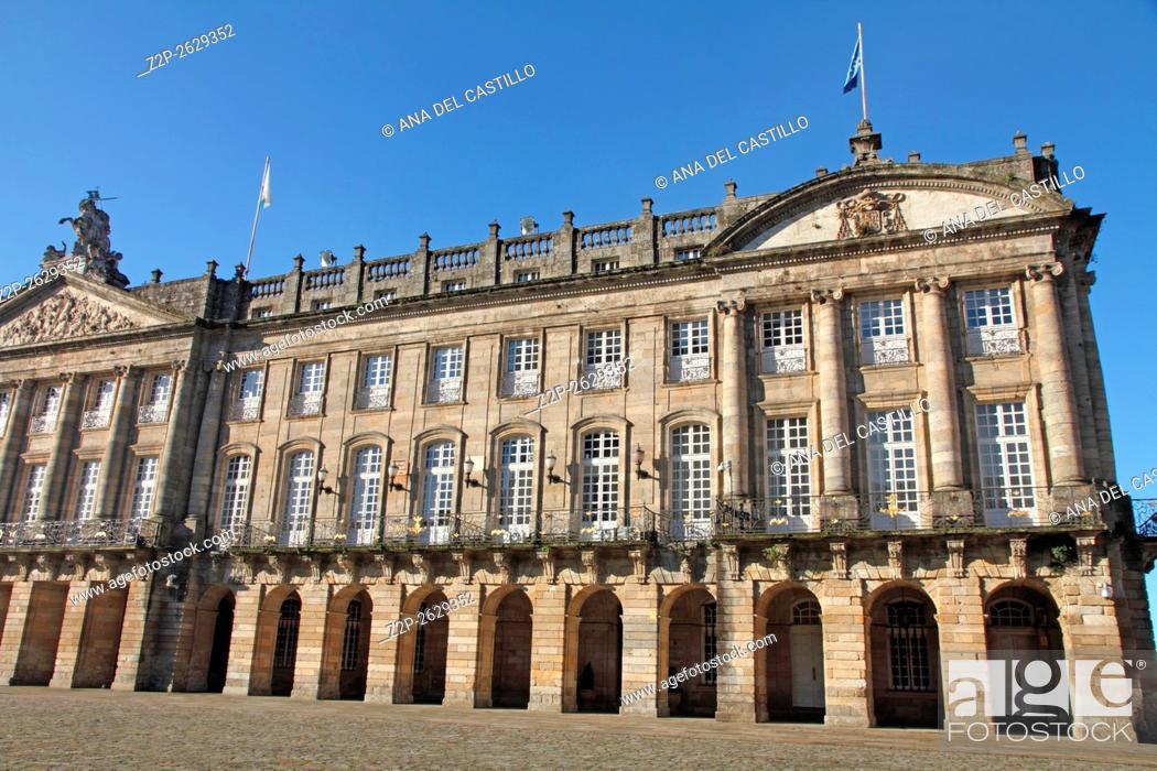 Stock Photo: Raxoi palace Santiago de Compostela Galicia Spain.