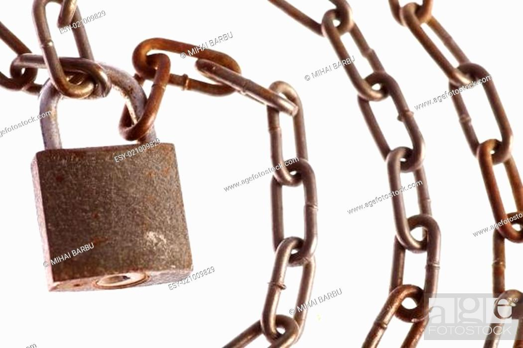 Photo de stock: Rusty chains and lock.