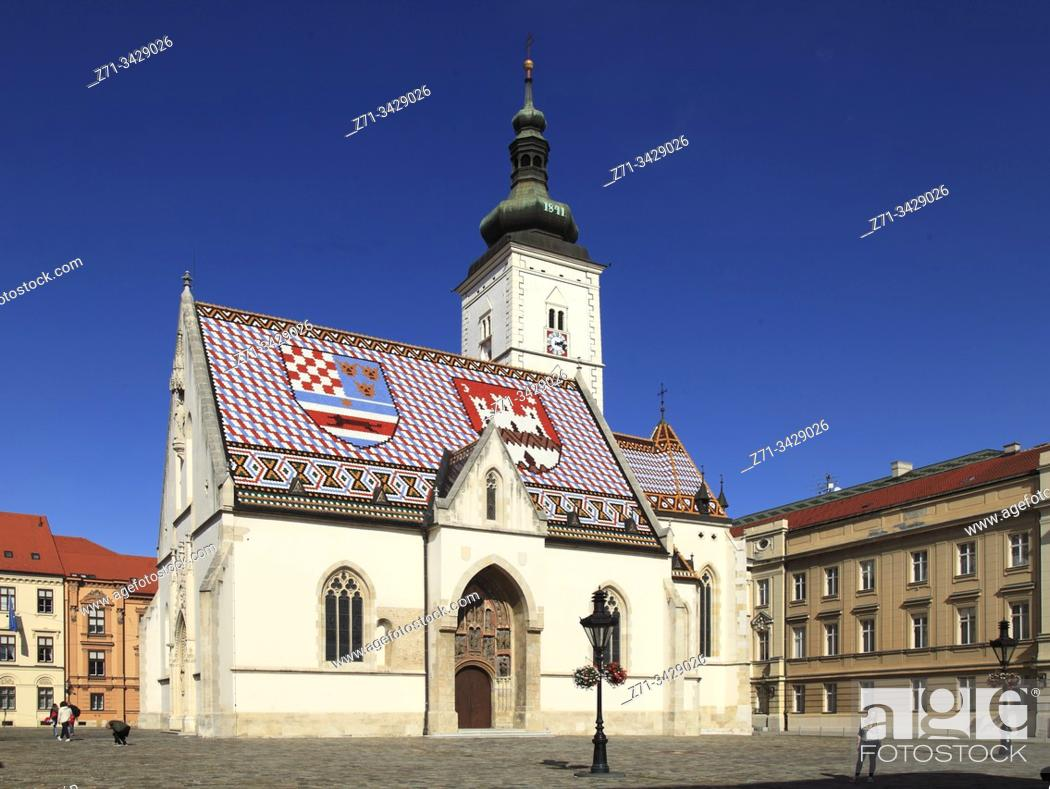 Stock Photo: Croatia, Zagreb, Upper Town, St Mark Church.