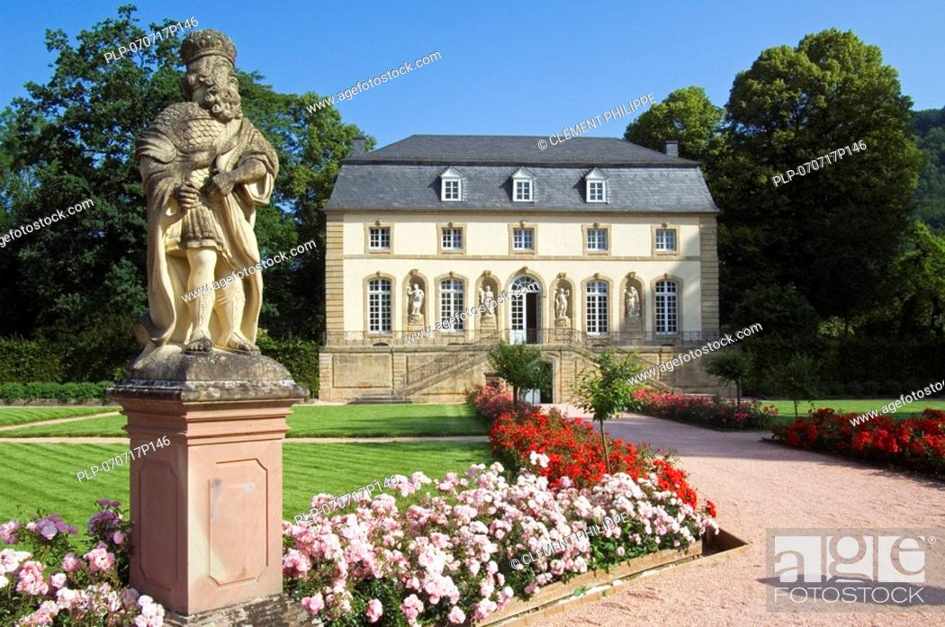 Stock Photo: Statue and pavilion in the monastery garden in Echternach, Luxembourg.