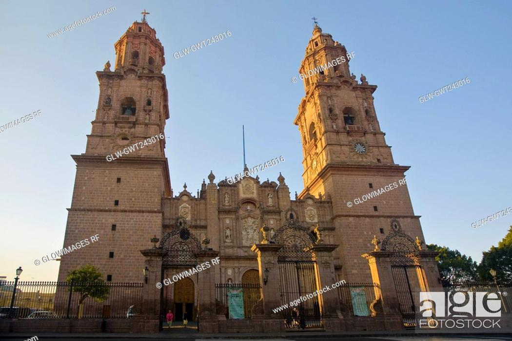 Stock Photo: Low angle view of a cathedral, Morelia Cathedral, Morelia, Michoacan State, Mexico.