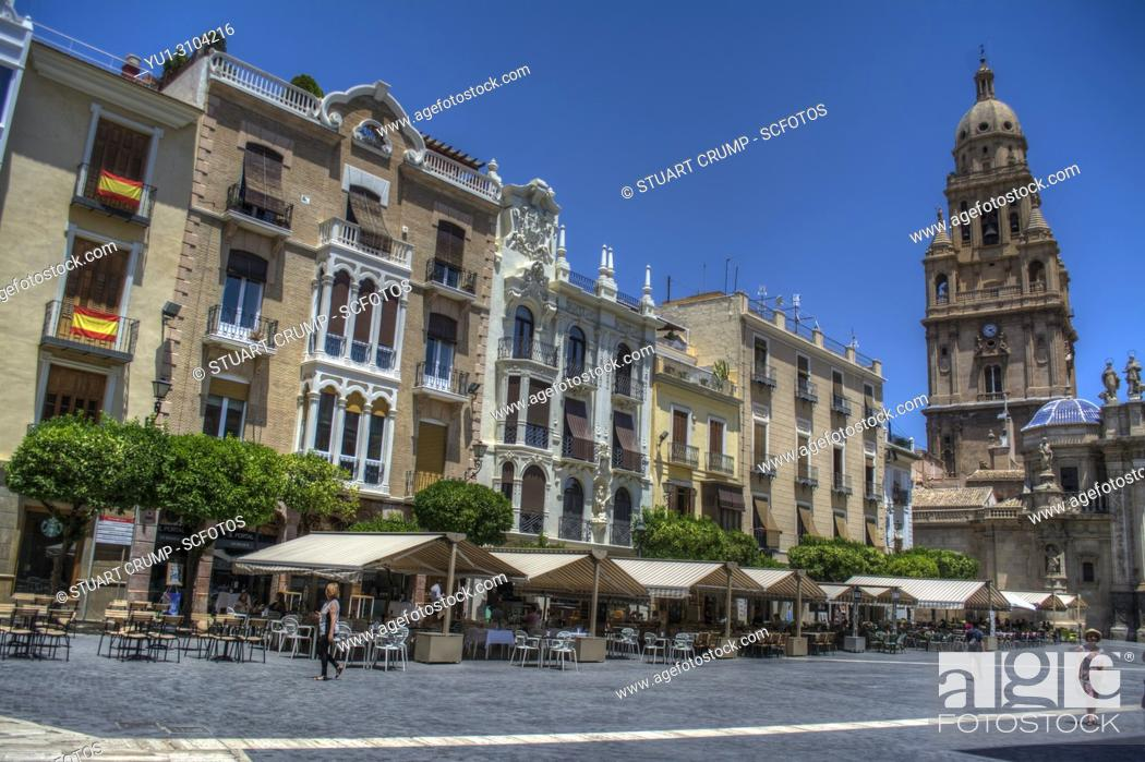 Stock Photo: HDR image of the Plaza del Cardenal Belluga with apartments and Bell Tower, Murcia Spain.