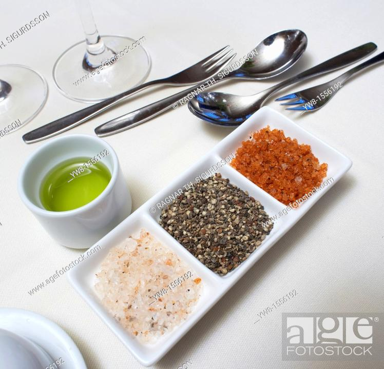 Stock Photo: Spices on table, Hotel Ranga, South Coast Iceland.
