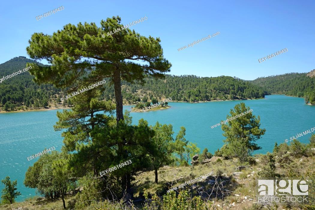 Stock Photo: Embalse de La Toba in Cuenca, Castilla La Mancha, Spain.