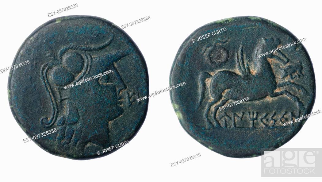 Imagen: Iberian As of Ampurias Century II B. C. Front: Head Palas. Reverse: Pegasus and Iberian lege.