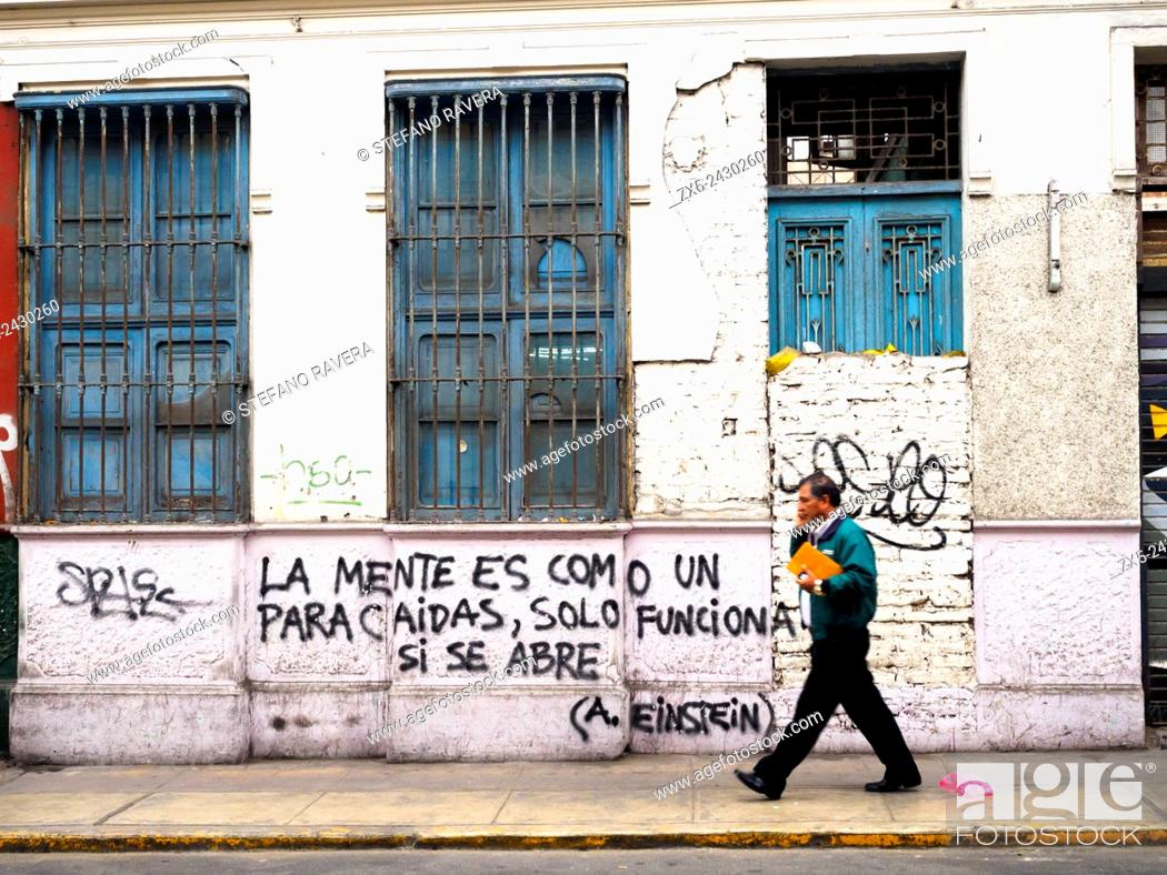 Stock Photo: (The mind is like a parachute - it works only when is open) Graffiti in the Barranco district - Lima, Peru.