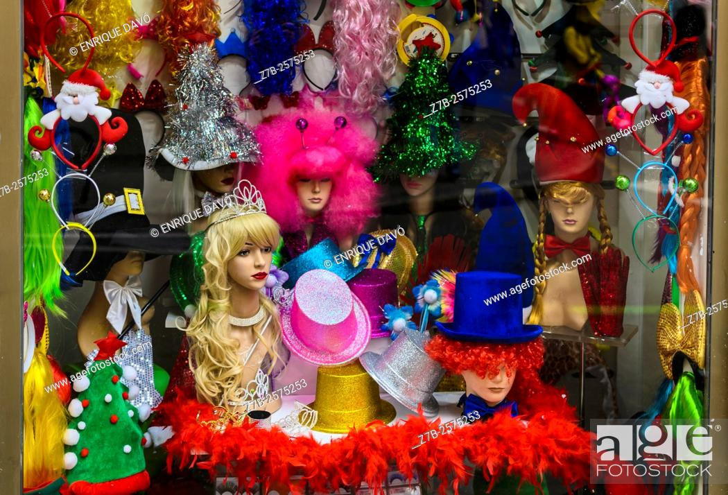 Stock Photo: A shop window view in the center of Madrid city, Spain.