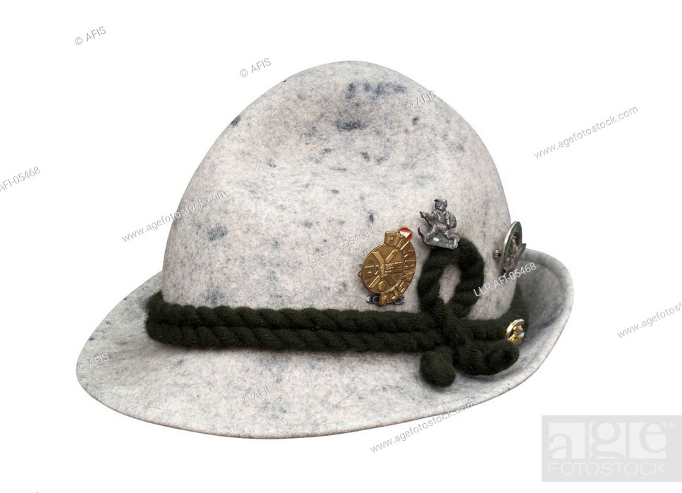 Stock Photo: Felt hat with corded band and badges.