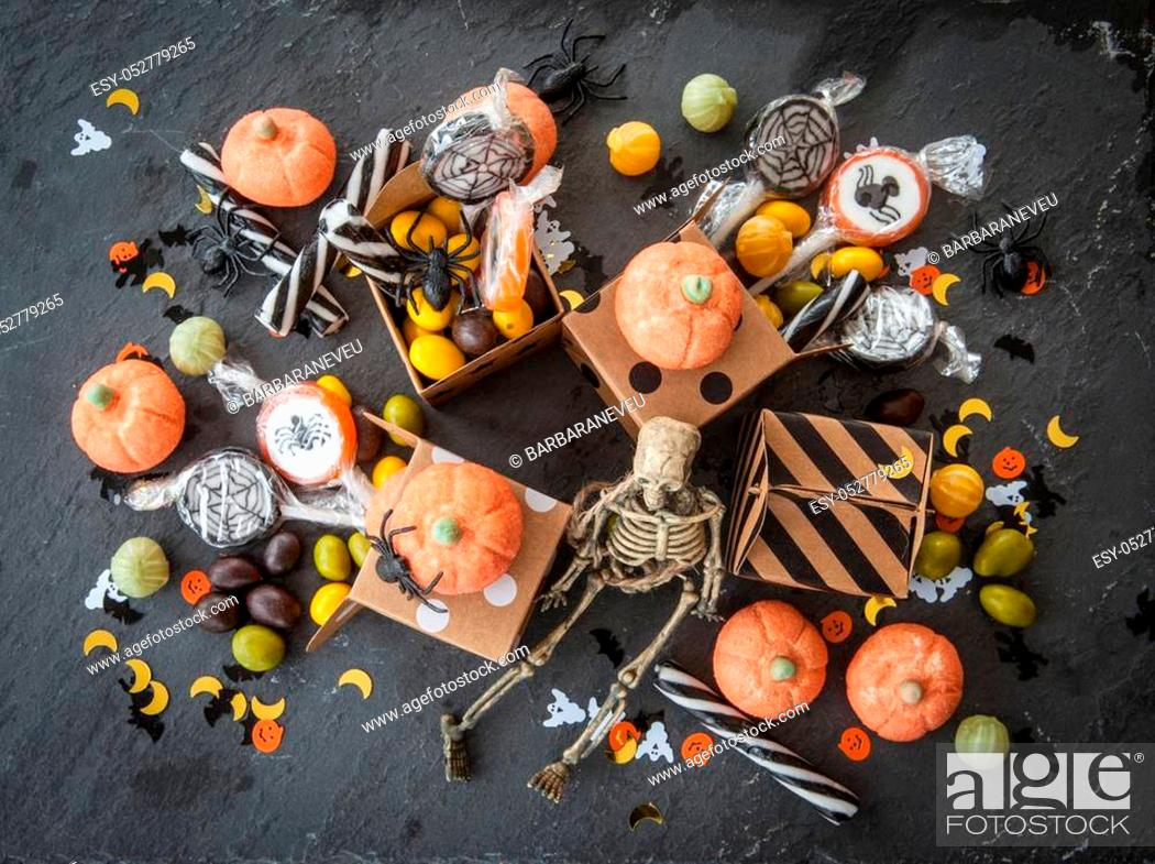 Stock Photo: Sweets and candy for a Happy Halloween.