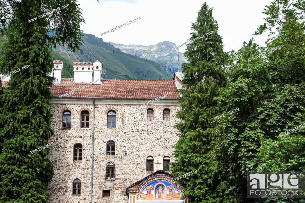 Stock Photo: Entrance, Monastery of Saint John of Rila, Rila Mountains, Bulgaria.