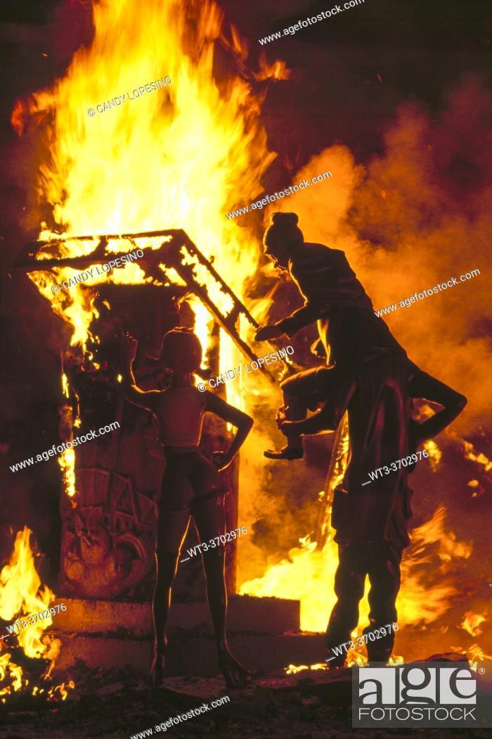 Stock Photo: Fallas festival, La Cremá, Nit del Foc, night of the fire, ninots burning, . VALENCIA, VALENCIAN COMMUNITY, SPAIN, EUROPE.