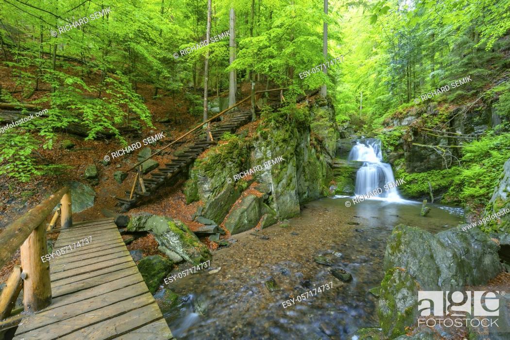 Stock Photo: Resov waterfalls on the river Huntava in Nizky Jesenik, Northern Moravia, Czech Republic.