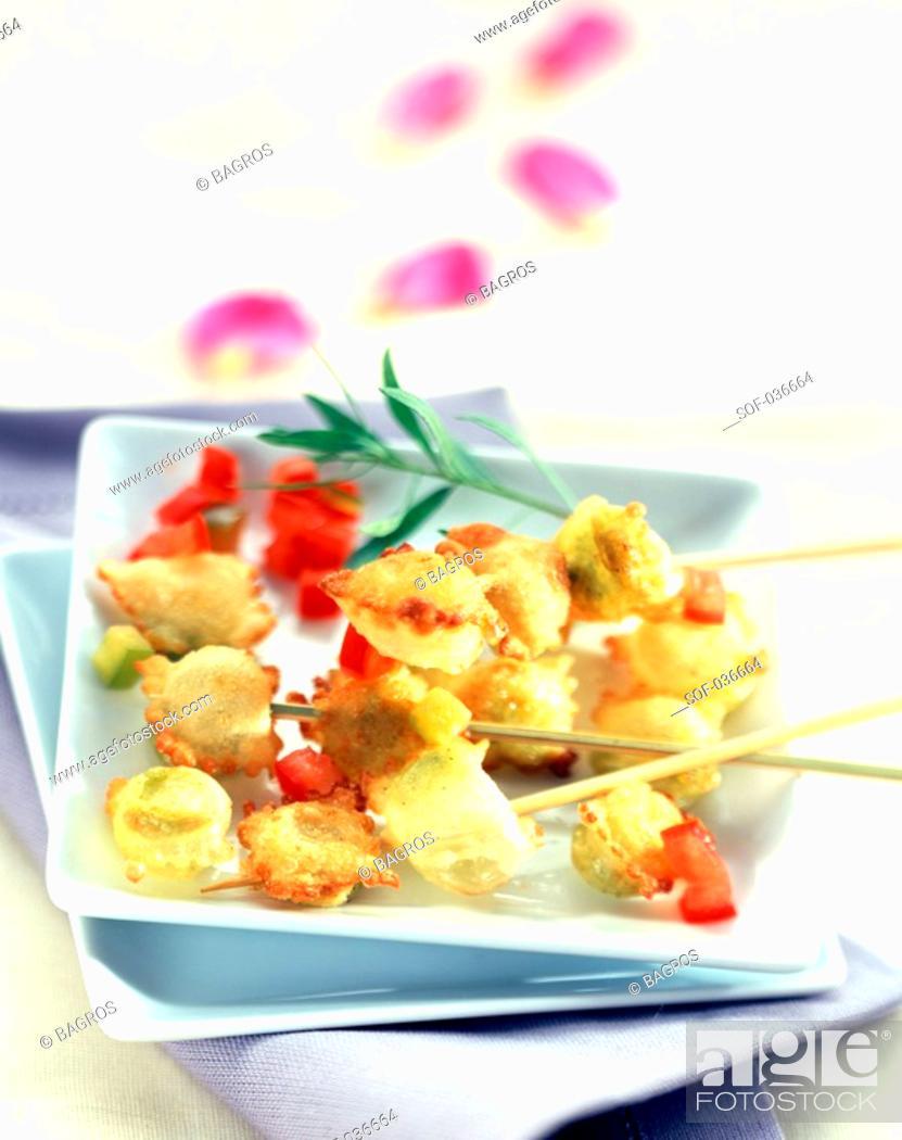 Stock Photo: ravioli skewers with fleur de sel sea salt.