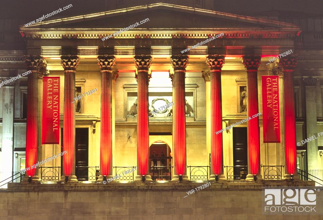 Stock Photo: The National Gallery in London, England, illuminated at night.
