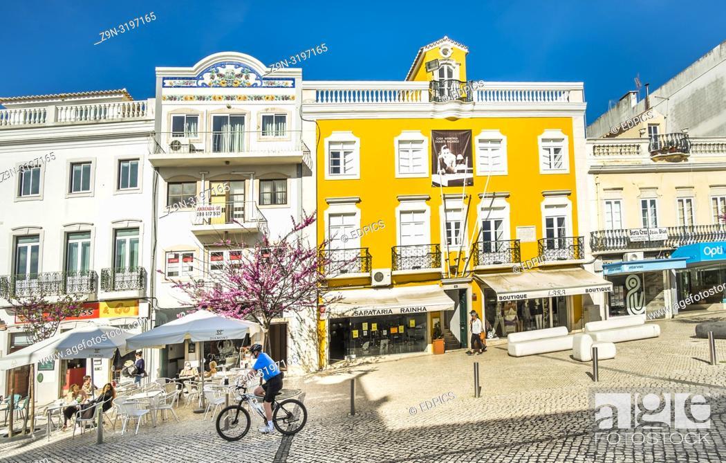 Stock Photo: street scene in front of casa duarte pacheco, loule, algarve, portugal.