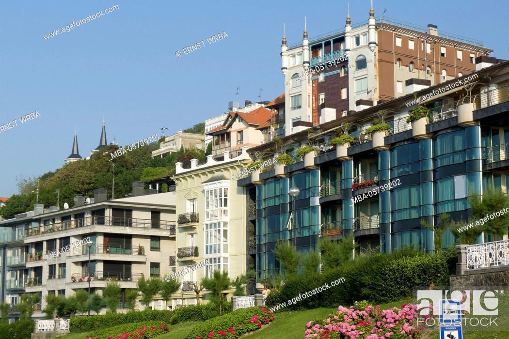 Stock Photo: Houses in the seafront, Donostia-San Sebastián, Gipuzkoa, the Basque Provinces, Spain.
