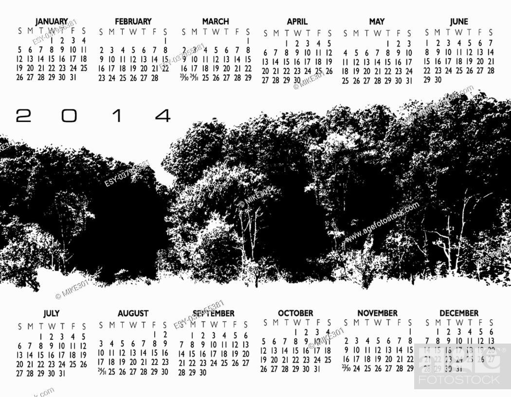 Stock Vector: 2014 Creative Landscape Calendar for Print or Website.