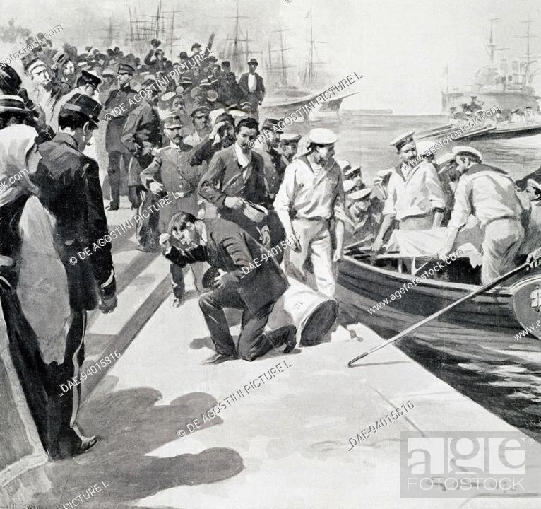 Stock Photo: Mutiny on the battleship Potemkin, rebels disembarking in the port of Constanta, illustration from the magazine L'Illustrazione italiana, 1905.