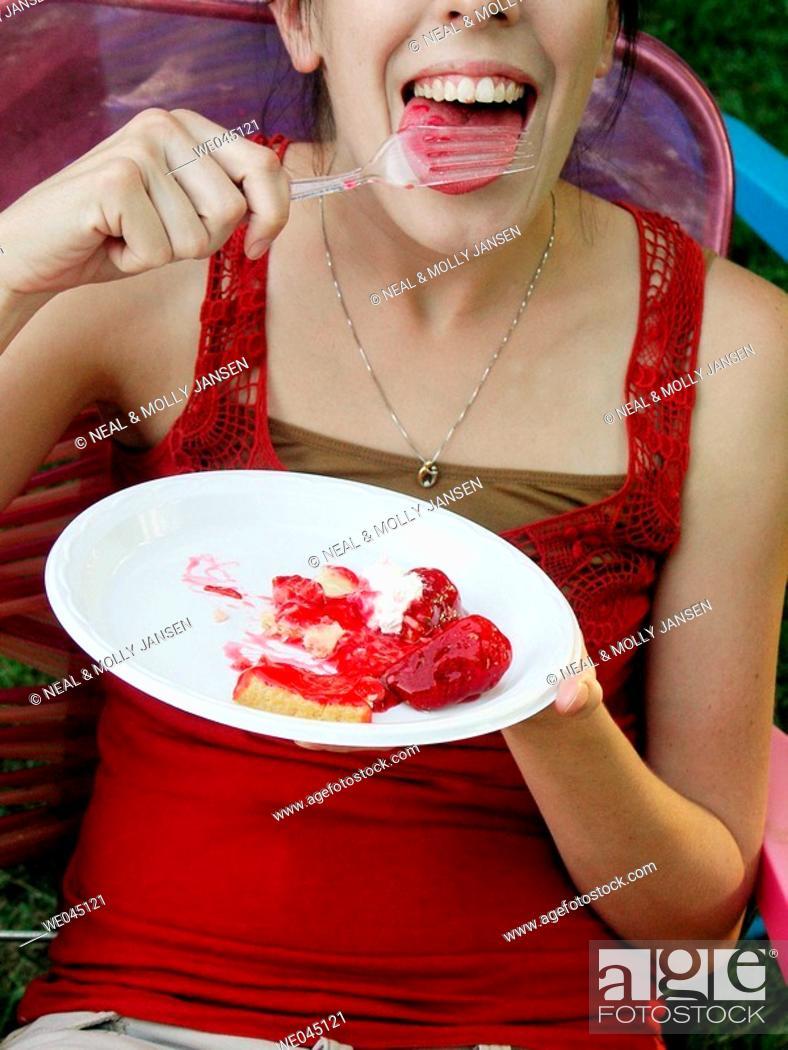 Stock Photo: Eating Strawberry Pie.