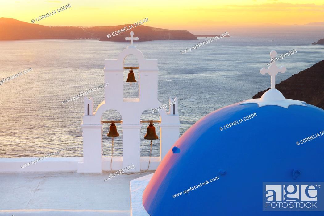 Stock Photo: Blue domes of church in Firostefani village, Santorini, Aegean Island, Cyclades Island, Greek Islands, Greece, Europe.