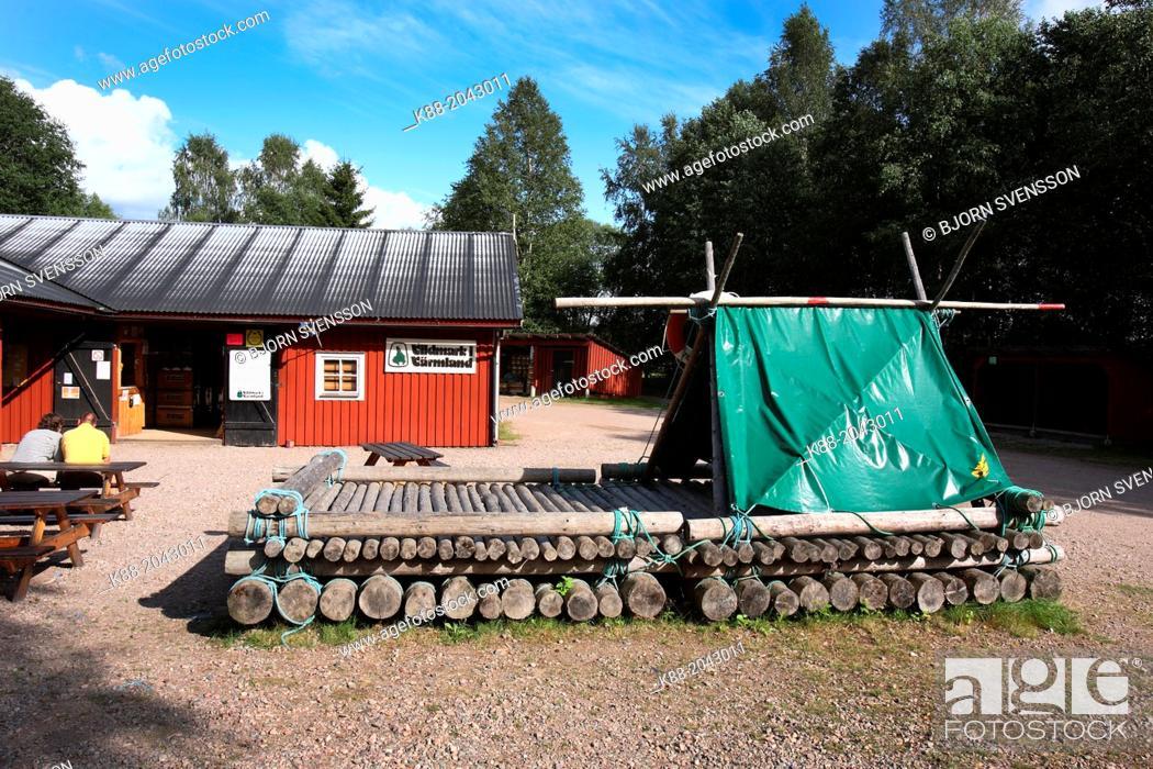 Stock Photo: Timber rafting center at Klar Alven. Varmland, Sweden.
