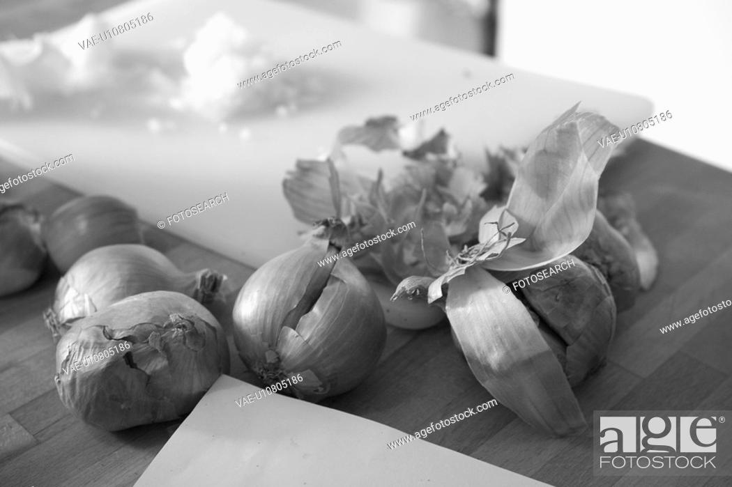 Stock Photo: Black And White, Chopped, Close-Up, Covering, Cutting Board, Edible.