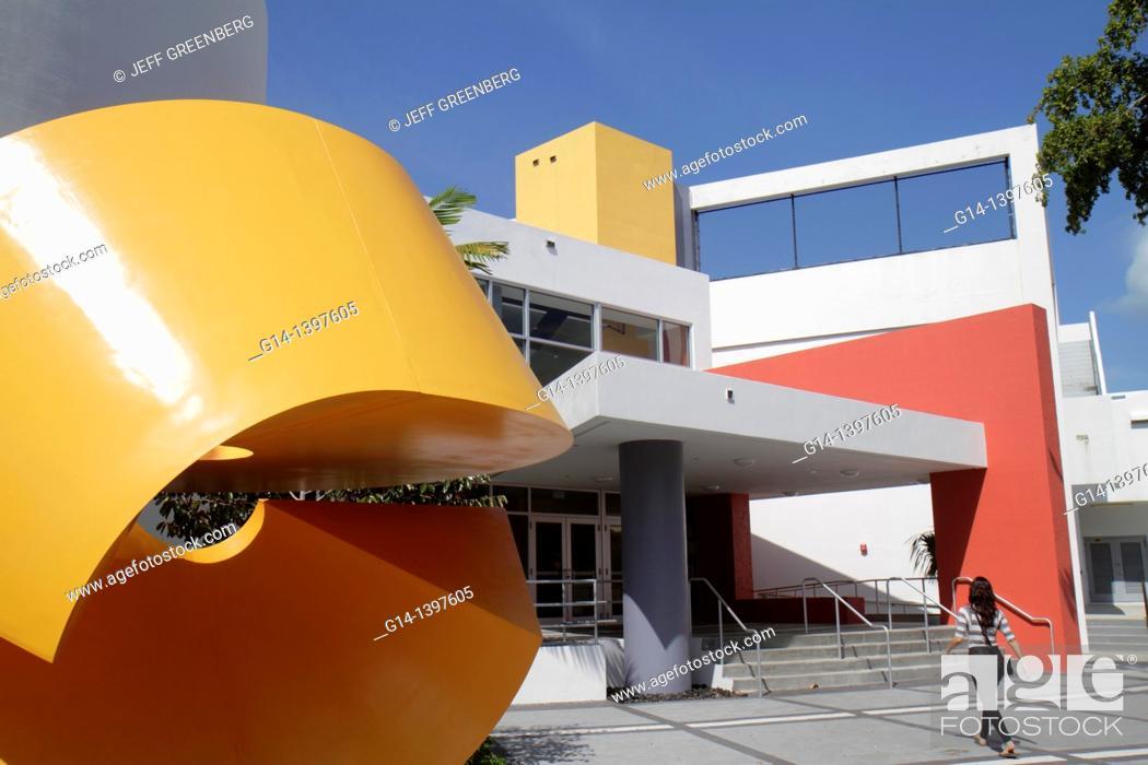Stock Photo Florida Miami Beach Scott Rakow Youth Center Entrance Sculpture