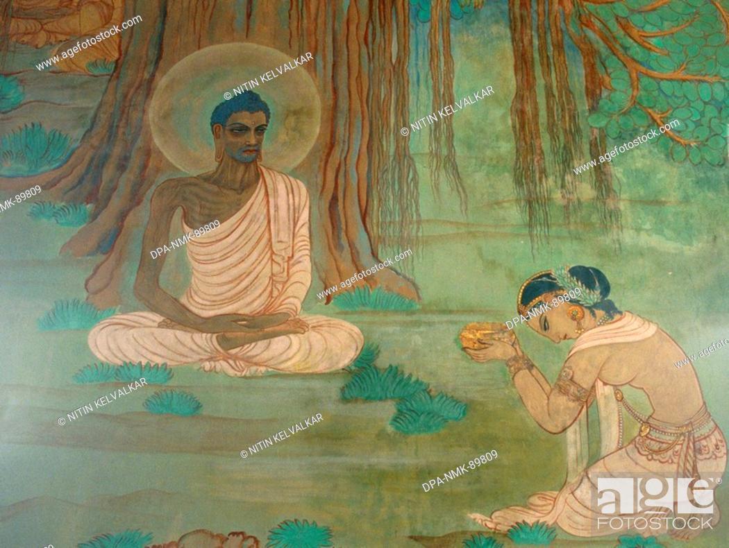 Stock Photo: Fasting Buddha & Sujata offering milk painting on wall of Mulgandha Kuti Vihar , Sarnath , Uttar Pradesh , India.
