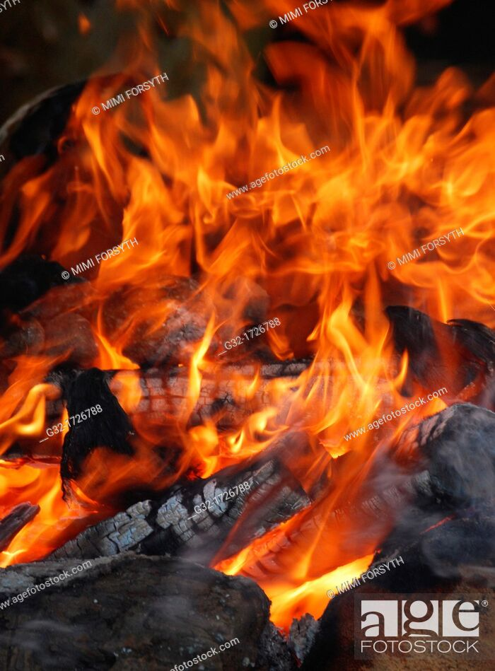 Stock Photo: small fire for cooking.