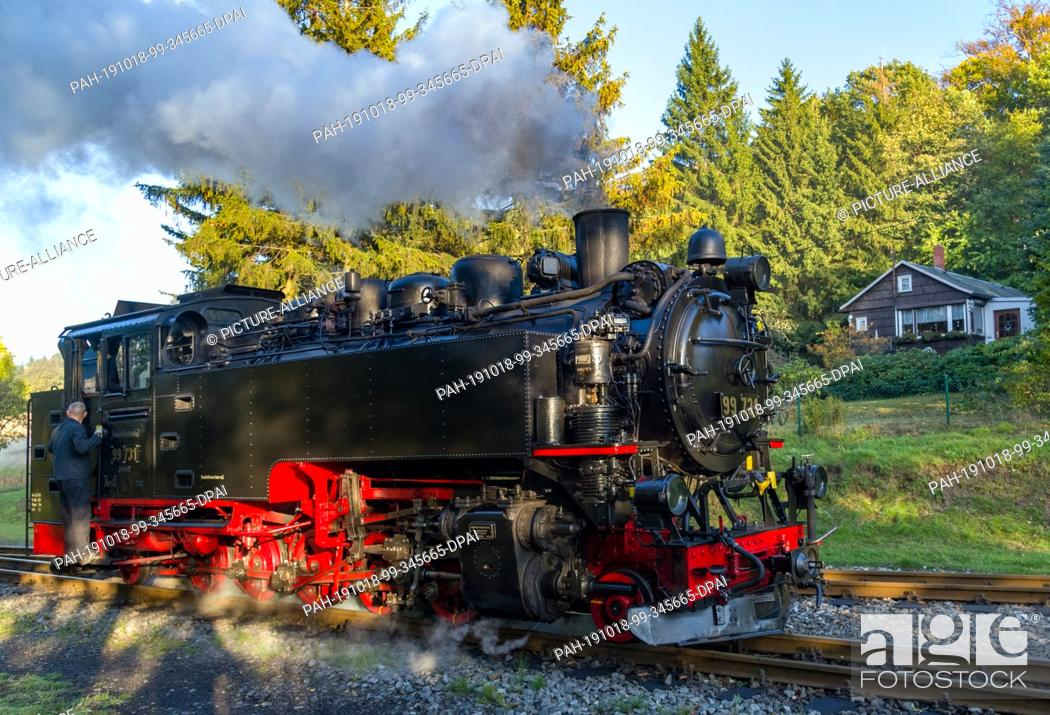 Stock Photo: 10 October 2019, Saxony, Jonsdorf: A steam locomotive of the Zittau narrow-gauge railway runs through the autumn landscape.