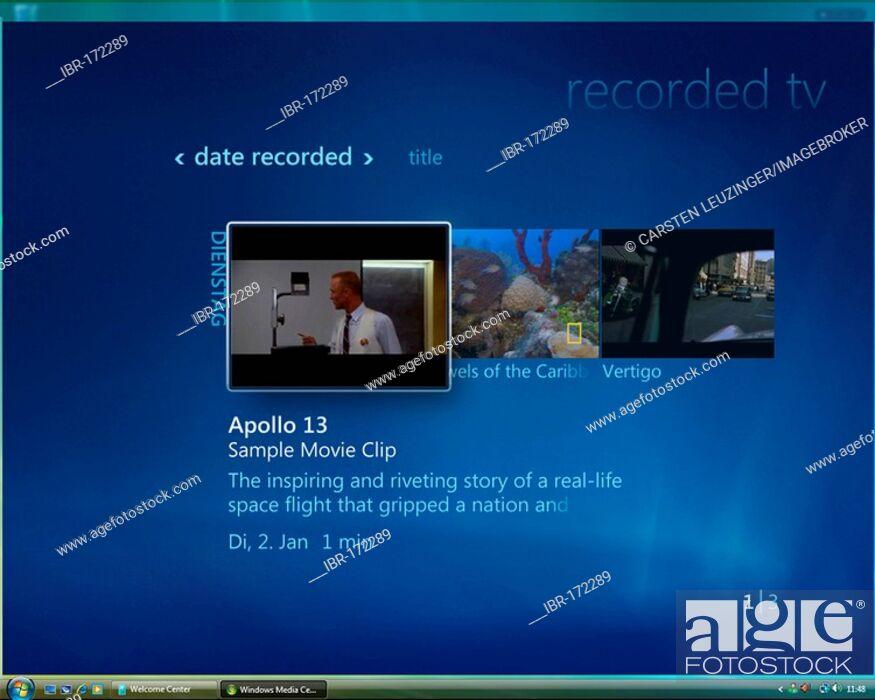 Photo de stock: Microsoft Windows Vista, english version, Media Center User Interface, Recorded TV Area, screenshot.