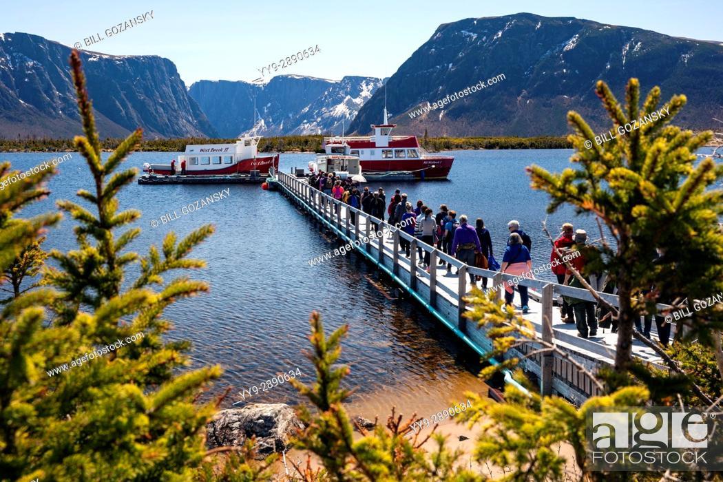 Stock Photo: Boat Tours on Western Brook Pond, Gros Morne National Park, Newfoundland, Canada.