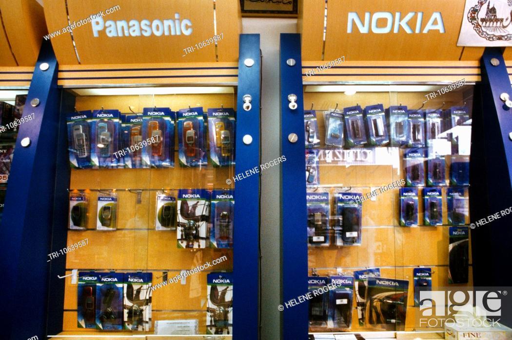 Dubai Uae Interior Of A Mobile Phone Shop Accessories On Sale, Stock