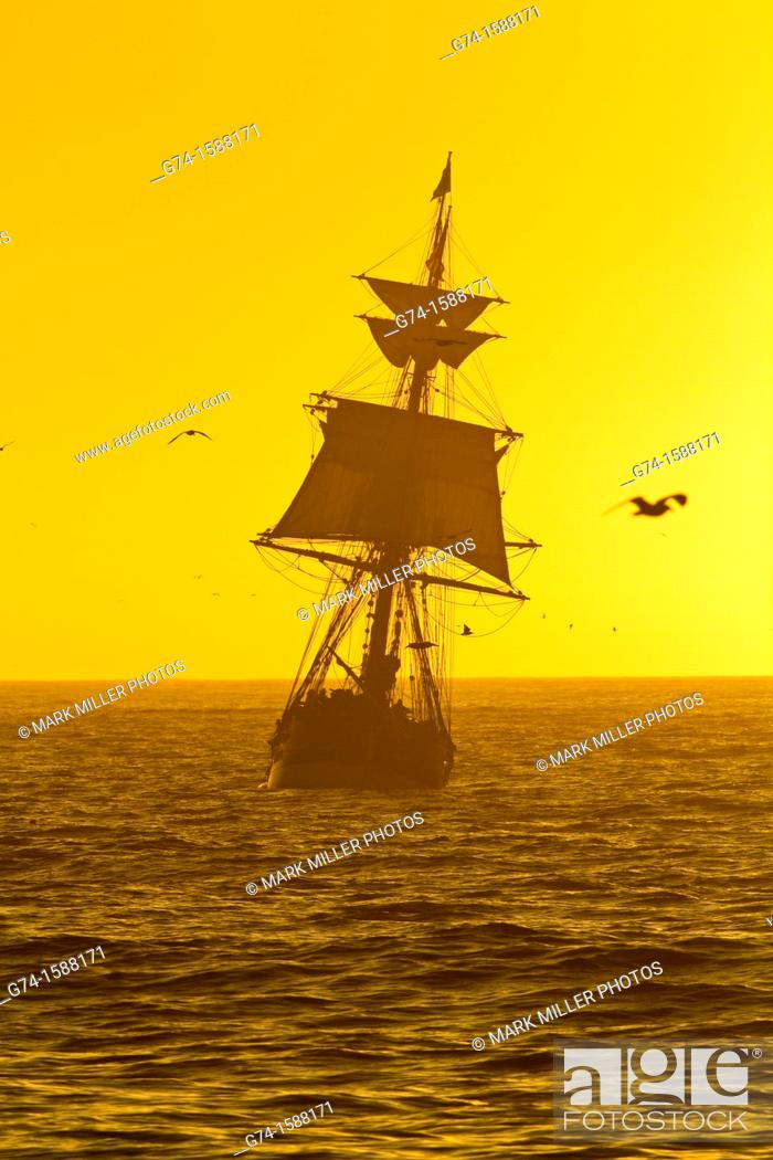 Stock Photo: Old Tall Ship Pacific Ocean in afternoon light.