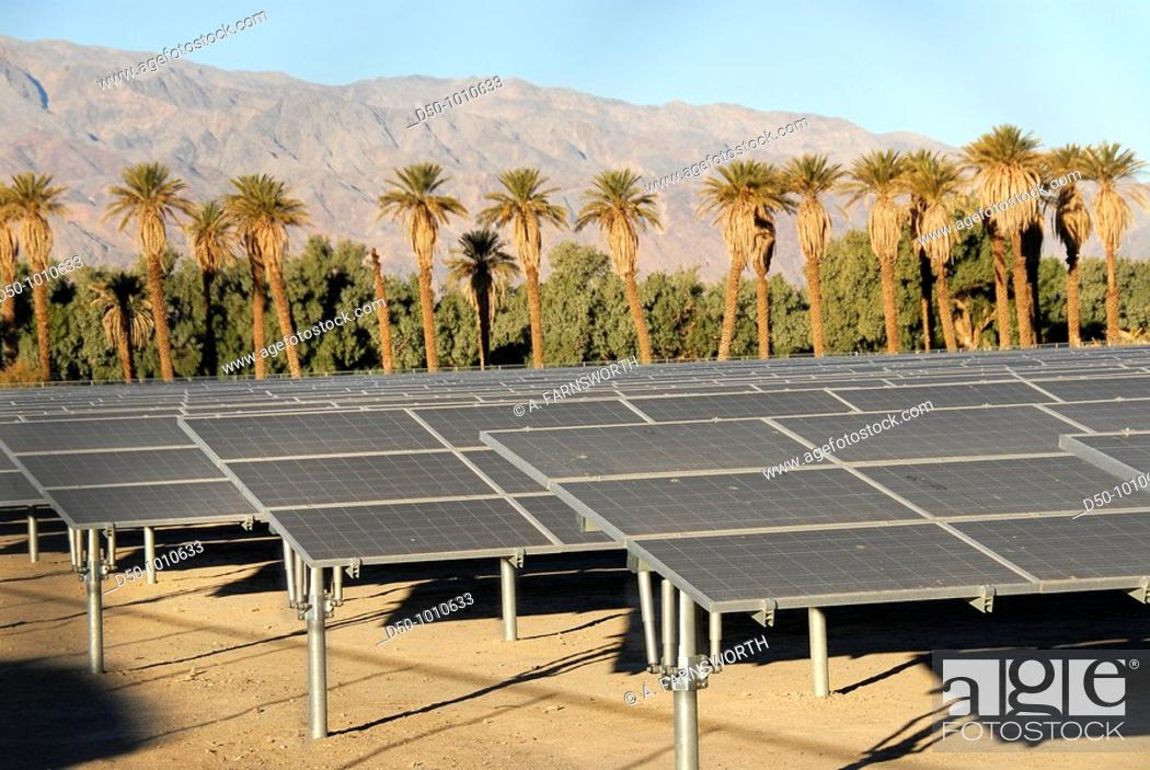 Stock Photo: Solar panels, Furnace Creek Hotel, Death Valley National Park, California, USA.