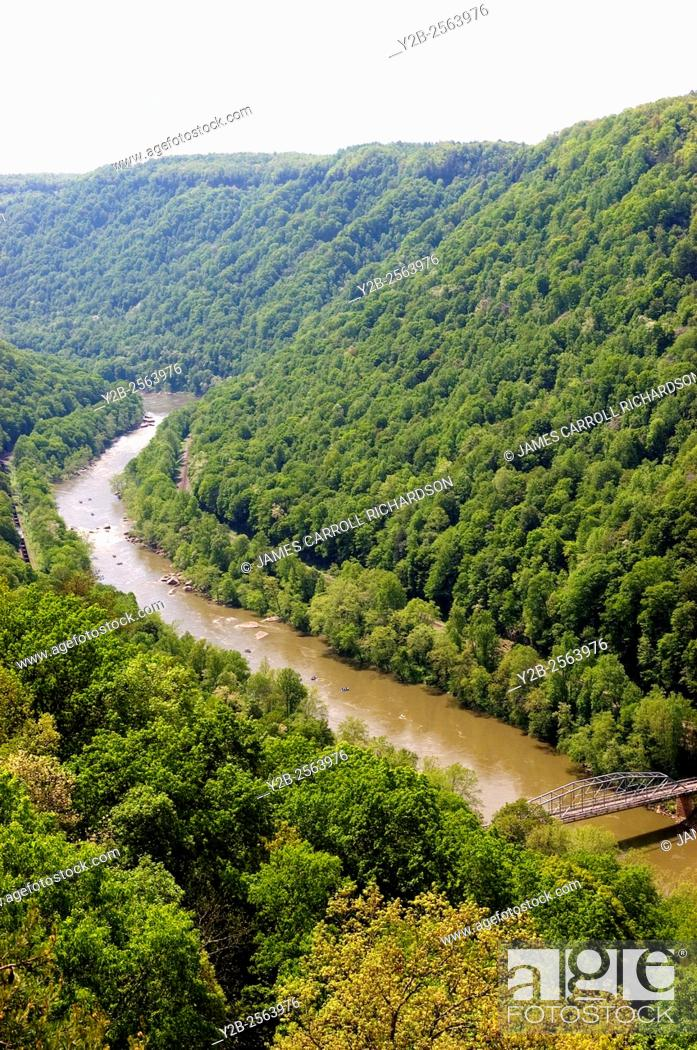 Stock Photo: New River from Bridge Overlook Canyon Rim Visitor Center New River Gorge National River.