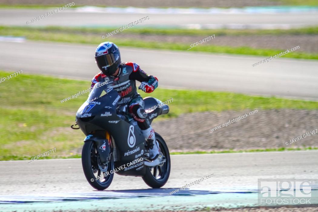 Stock Photo: Highligths Moto2 Moto3 Winter test Spanish, Jerez 19-20-21th February 2020.