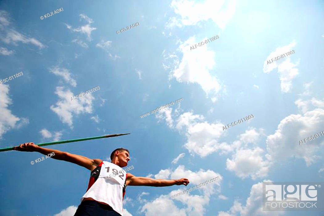 Stock Photo: Portrait of a Male Javelin Thrower.