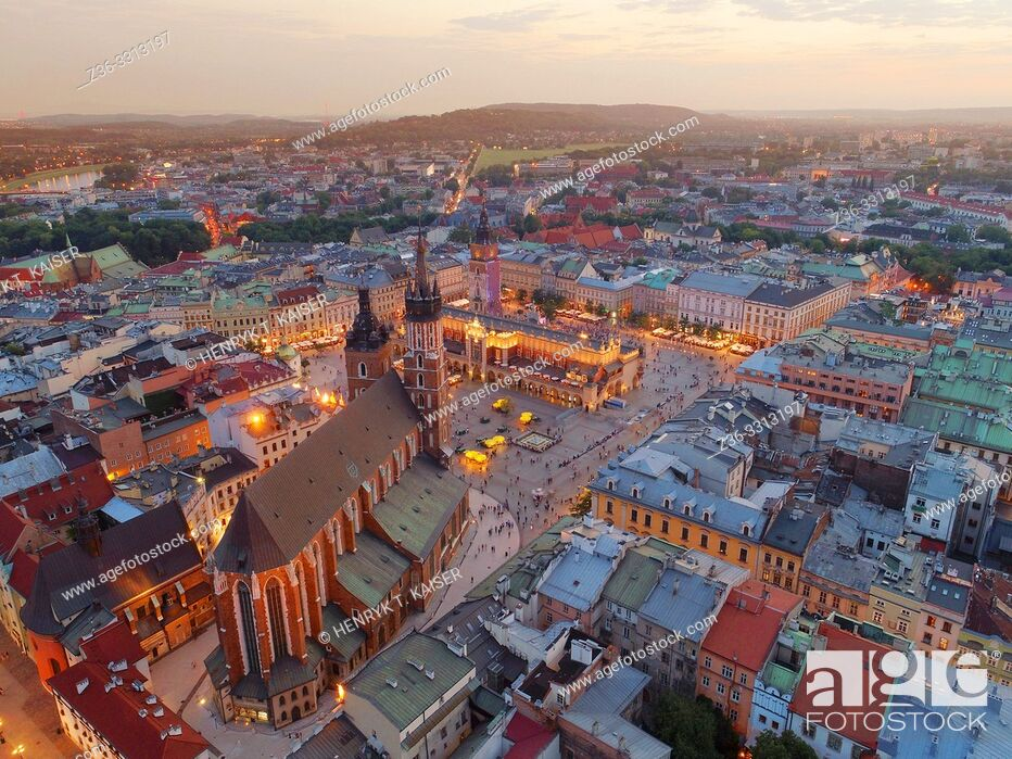 Stock Photo: Panorama of Krakow from the air, Poland.