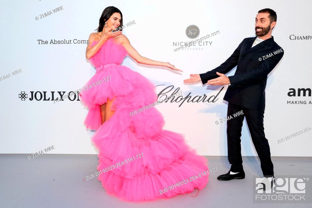 Stock Photo: May 23, 2019 - Antibes, France - CANNES - MAY 23: Kendall Jenner and Giambattista Valliarrives to the amfAR Cannes Gala 2019 at Hotel du Cap-Eden-Roc on May 23.